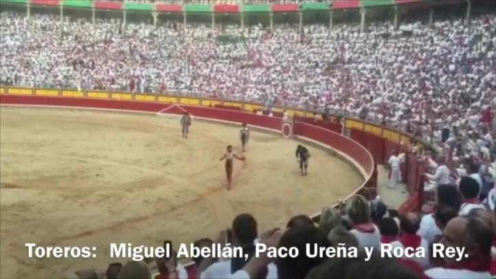 Miguel Abellán, Paco Ureña y Roca Rey en la corrida de San Fermín
