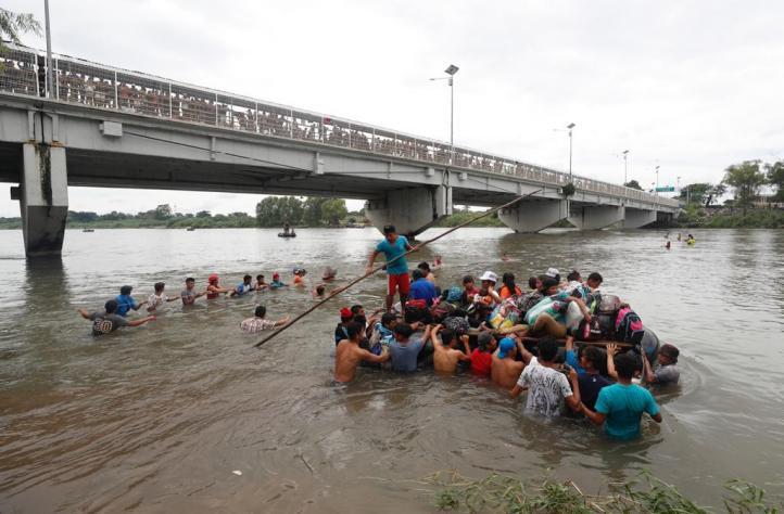 Migrantes en la frontera de Guatemala y México