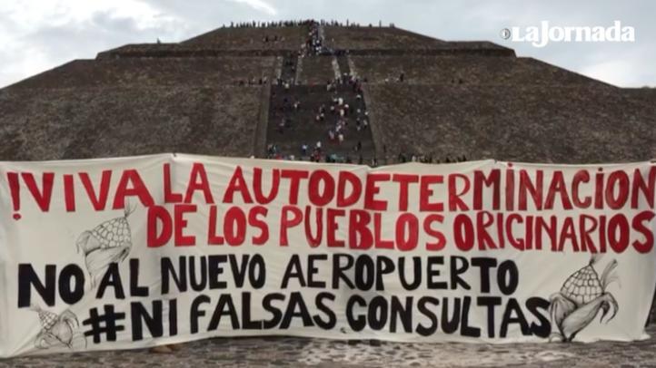 Teotihuacán: Protesta contra la construcción del NAICM