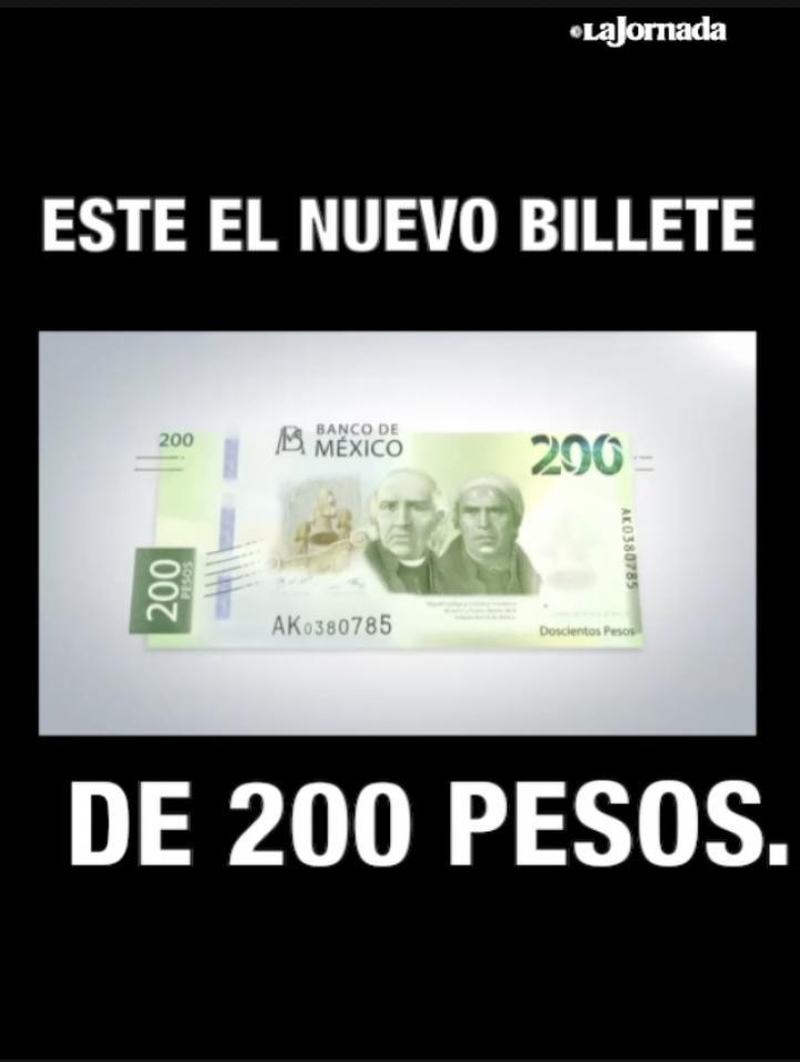 Circula ya nuevo billete de 200 pesos