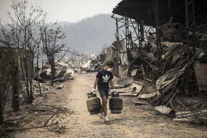 Incendios en Chile arrasan poblado