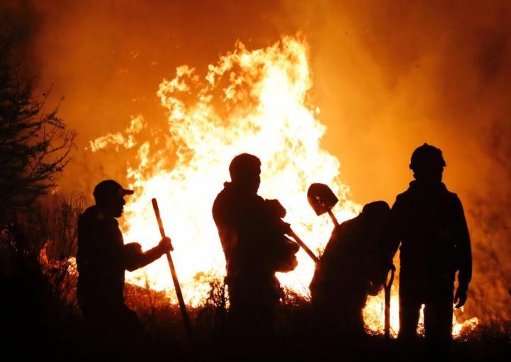 Bomberos luchan contra incendio en el Parque de Cuemanco