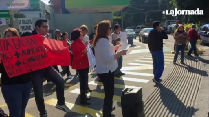 Ciudadanos cierran gasolineras en Calzada de Tlalpan