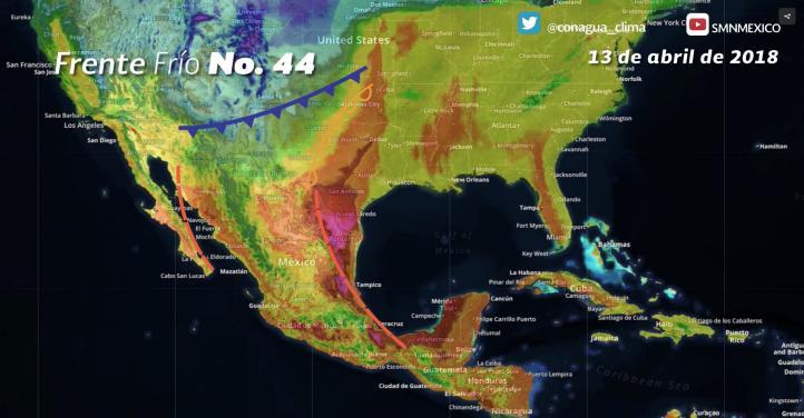 Pronóstico del tiempo para el  13 de abril de 2018