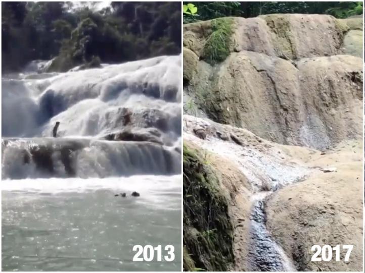 Cascadas de Agua Azul, en peligro de secarse