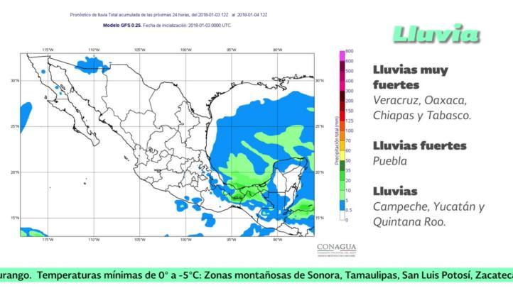 Pronóstico del tiempo para el 3 de enero