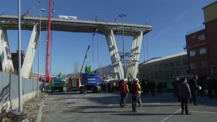 Comienza demolición de puente en Génova cuyo derrumbe dejó 43 muertos