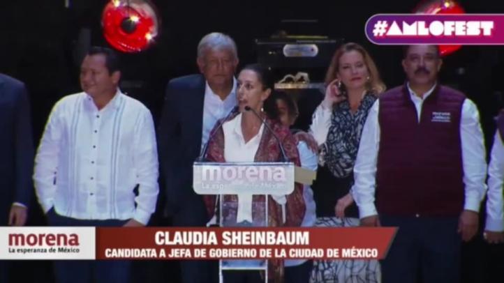 Sheinbaum inicia su discurso en el AMLO Fest
