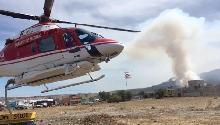 Combaten incendio forestal en el Estado de México