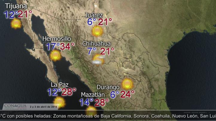 Pronóstico del tiempo para el 2 y 3 de abril.