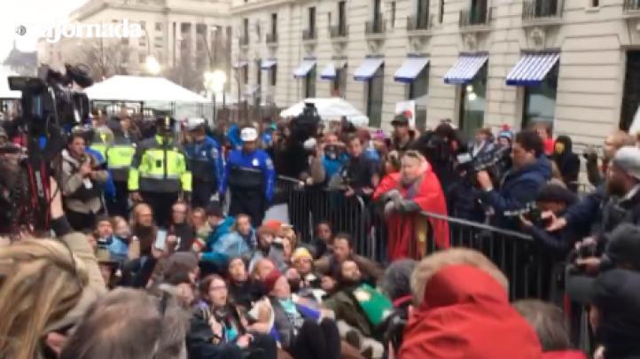 Protestan contra Trump, la mañana de su toma de protesta