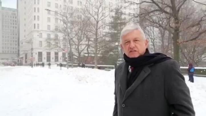 López Obrador informa que debido a la nevada en Nueva York se canceló la reunión en la ONU