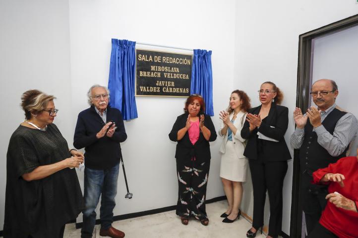 Sala de redacción Miroslava Breach y Javier Valdez, en La Jornada