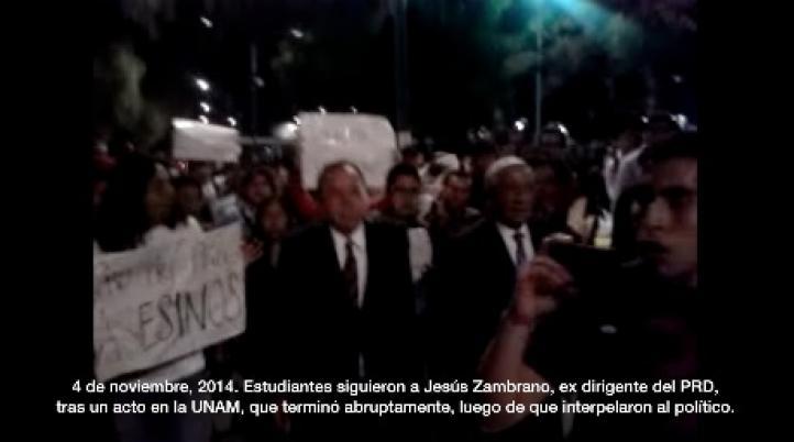 """Estudiantes gritan """"asesino, asesino"""" a Zambrano en la UNAM"""