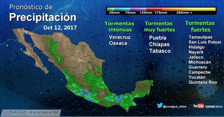 Pronóstico del tiempo para el 12 de octubre