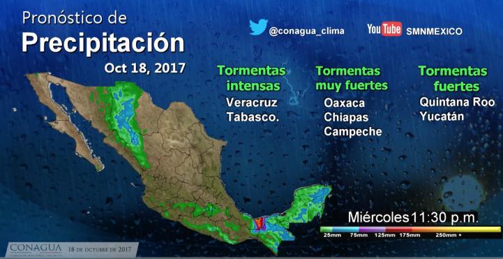 Pronóstico del tiempo para el 18 de octubre