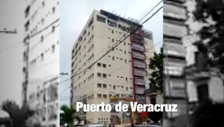 Fachada de Torre Pediátrica en Veracruz cede ante fuertes vientos.