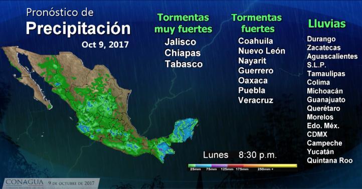Pronóstico del tiempo para el 9 de octubre