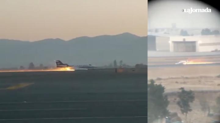 Ambulancia aérea aterriza de emergencia y se incendia en Toluca