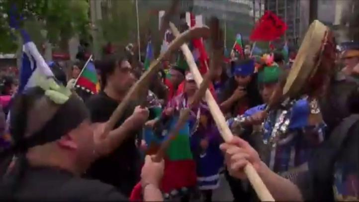 Tensión en Chile durante la marcha por la resistencia Mapuche