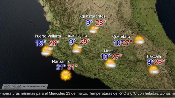 Pronóstico del tiempo para el 24 y 25 de marzo.