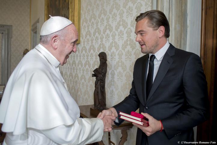 DiCaprio visita al Papa en El Vaticano