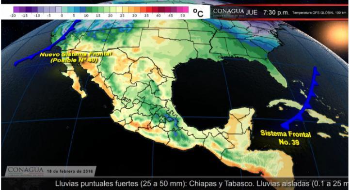Pronóstico del tiempo para el 18 de febrero