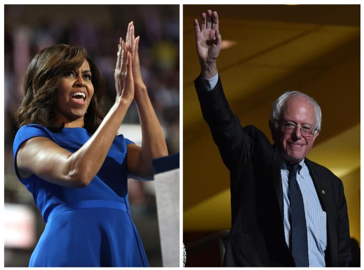 Michelle Obama y Bernie Sanders piden apoyo para Hillary Clinton