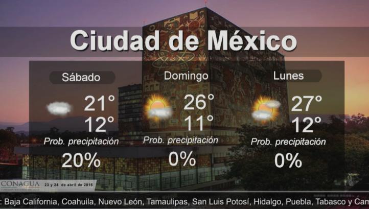 Pronóstico del tiempo para el 23 y 24 de abril