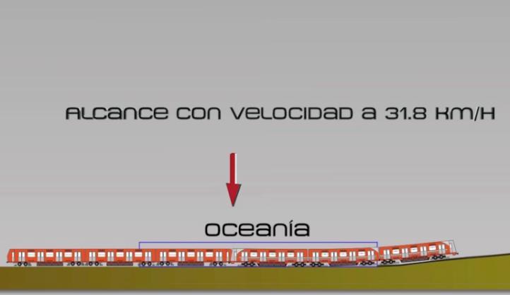 Animación del accidente del Metro en la estación Oceanía