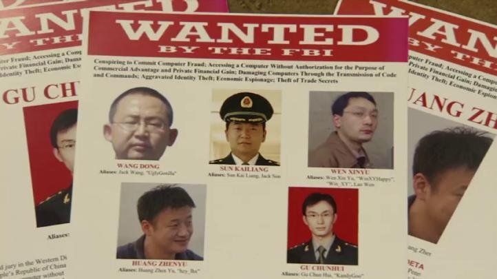 Inicia EU proceso contra 5 oficiales chinos por espionaje económico