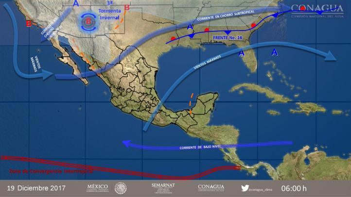 Pronóstico del tiempo para el 19 de diciembre