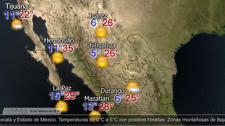 Pronóstico del tiempo para el 12 de febrero