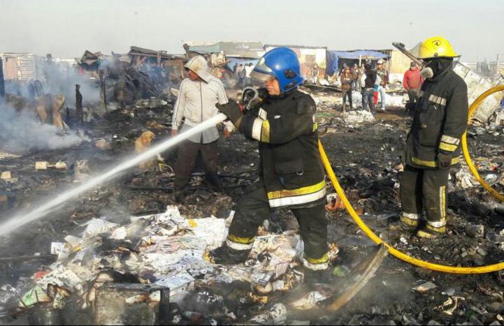 Incendio en el Bordo de Xochiaca
