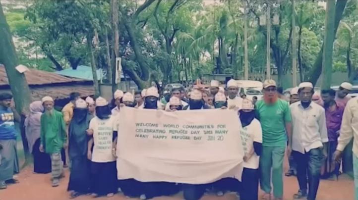 Musulmanes rohingya refugiados marchan por sus derechos