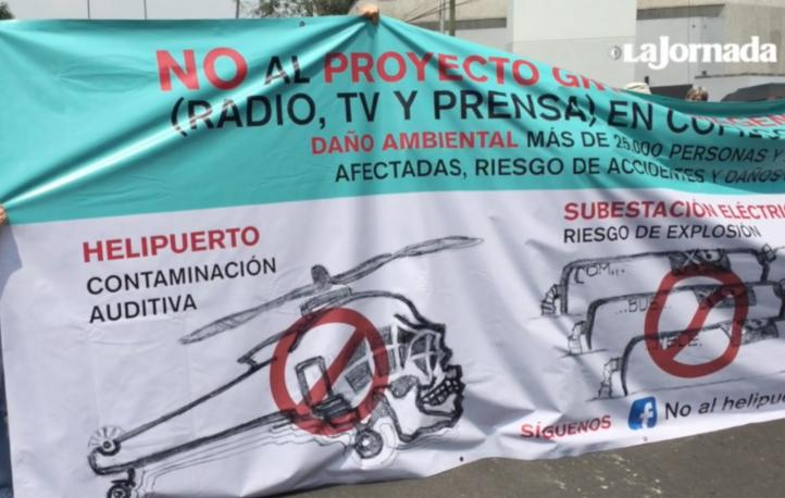 Vecinos protestan contra construcción de helipuerto al sur de la CDMX