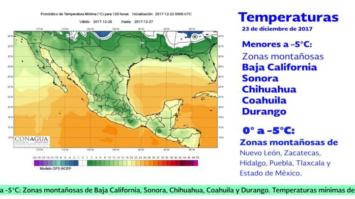 Pronóstico del tiempo para el 23 y 24 de diciembre