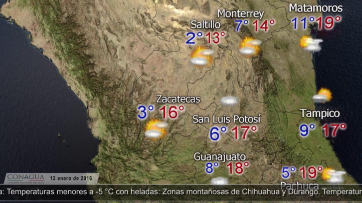 Pronóstico del tiempo 12 de enero de 2016
