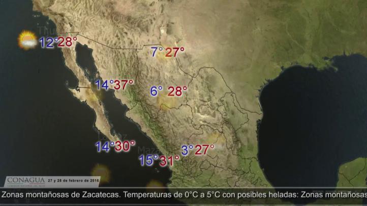 Pronóstico del tiempo para el 27 y 28 de febrero
