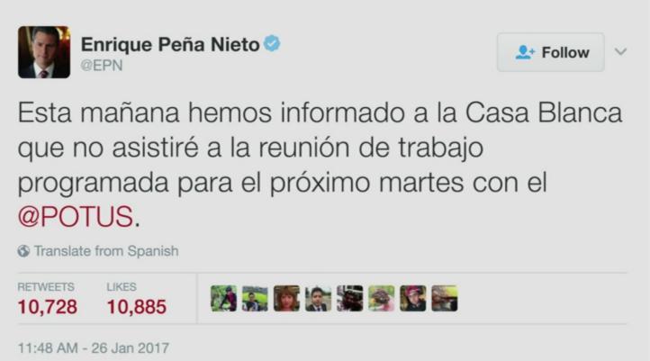 No habrá encuentro entre Peña y Trump