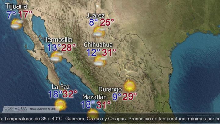 Pronóstico del tiempo, para el 10 de noviembre