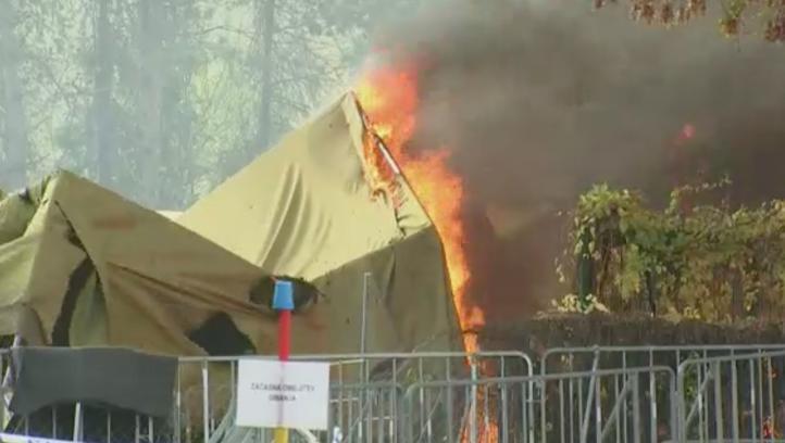 Se incendia campamento de refugiados en Eslovenia