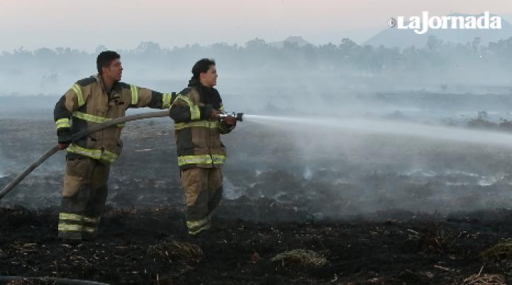 Apagan incendio en Xochimilco