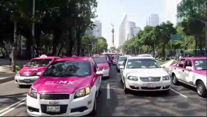 Protesta Movimiento Nacional de Taxistas contra aplicaciones como Uber