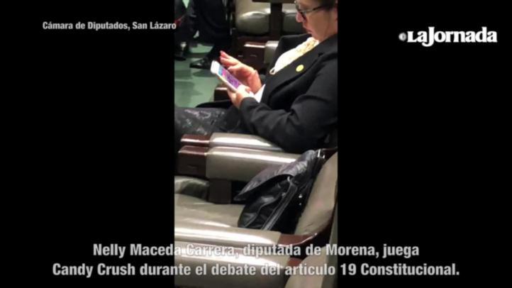 Diputada juega Candy Crush durante discusión de artículo 19