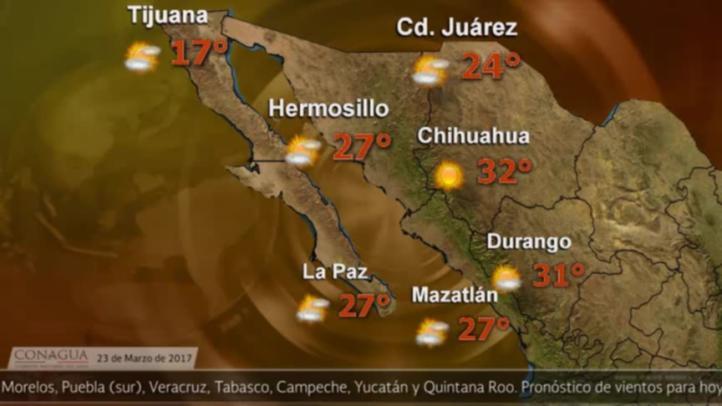Pronóstico del tiempo para el 23 de marzo
