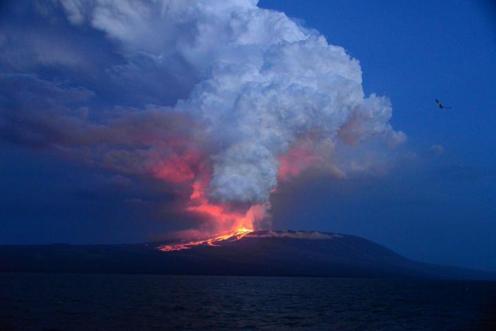 Erupciona volcán Wolf en islas Galápagos
