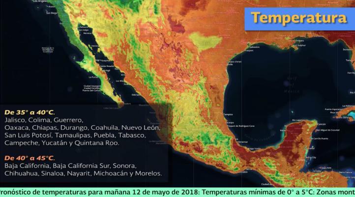Pronóstico del tiempo para el 12 y 13 de mayo