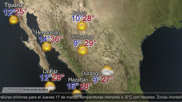 Pronóstico del tiempo para el 16 de marzo