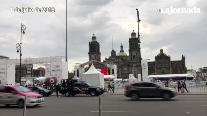 Preparan el Zócalo para los festejos del triunfo de López Obrador